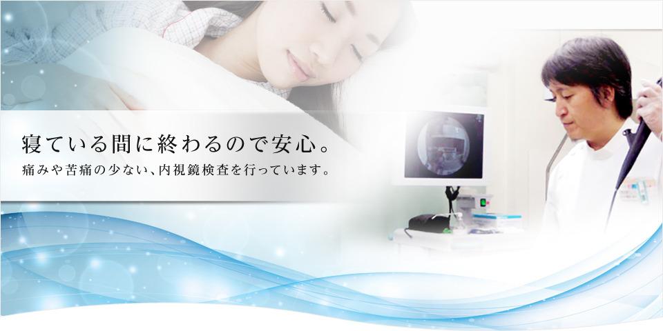 寝ている間に終わるので安心。痛みや苦痛の少ない、内視鏡検査を行っています。